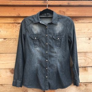 Love Stitch Black Denim Shirt with Turquoise Snaps